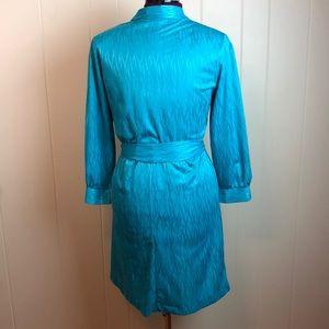 Vintage Dresses - Vintage 70s/80s Teal V Neck Disco Dress